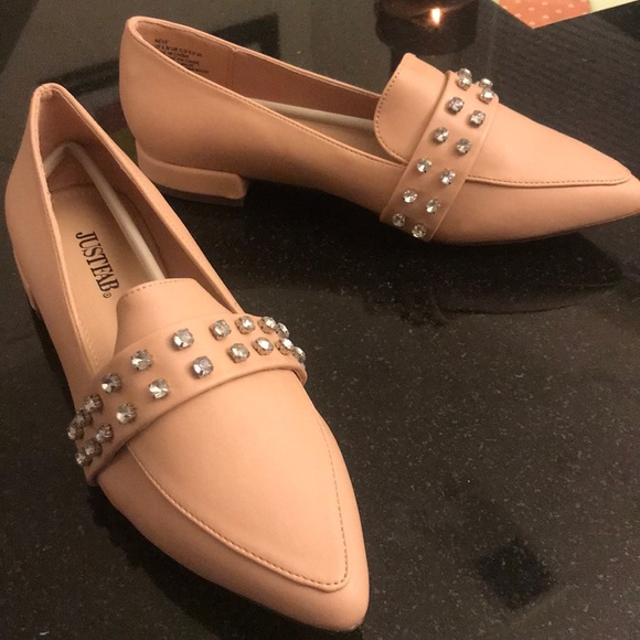 a2d27d32050 Light Pink Studded Loafers. NWT. JustFab
